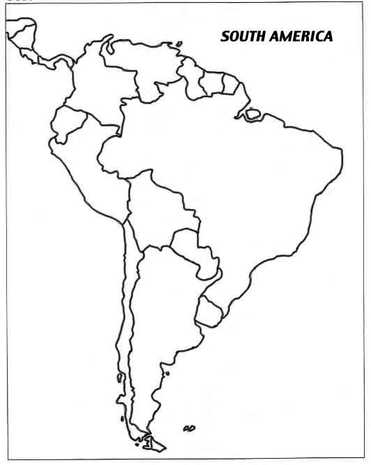 LATIN AMERICA - Blank map of central and south america